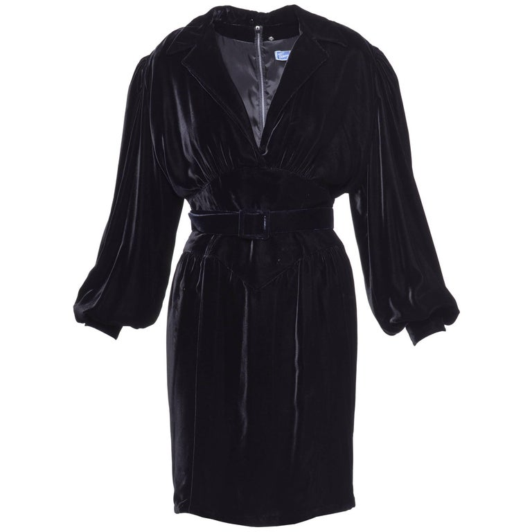 1980s THIERRY MUGLER Black Silk Velvet Dress
