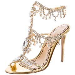Marchesa New Runway Gold Leather Crystal Evening Sandals Heels in Box