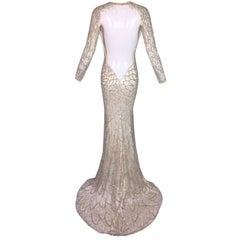 OOAK 1990's Atelier Versace 20's Style Beaded L/S Bridal Wedding Mesh Gown