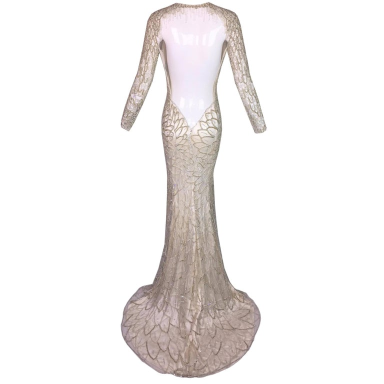 F/W 2001 Atelier Versace Runway 20's Style Beaded L/S Bridal Mesh Gown Dress