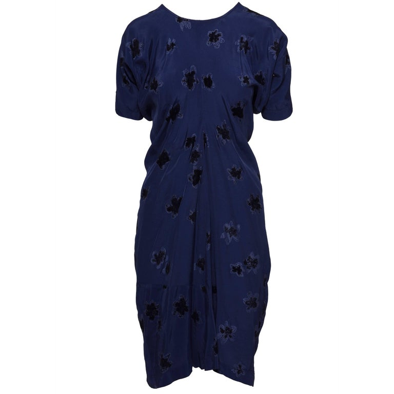 COMME DE GARCONS Blue Flower Dress  For Sale