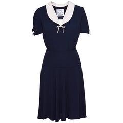 1990s MOSCHINO Cheap & Chic Navy Blue and White Dress