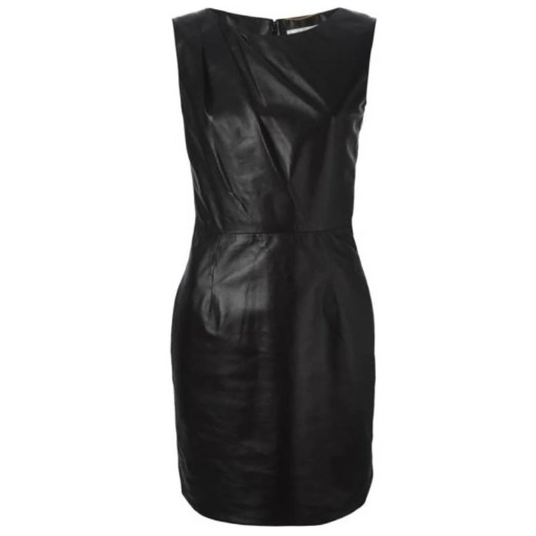 Saint Laurent Black Leather Dress Sz FR38