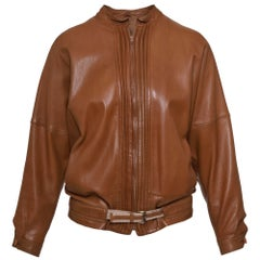 1980s GIANNI VERSACE  Brown Leather Jacket