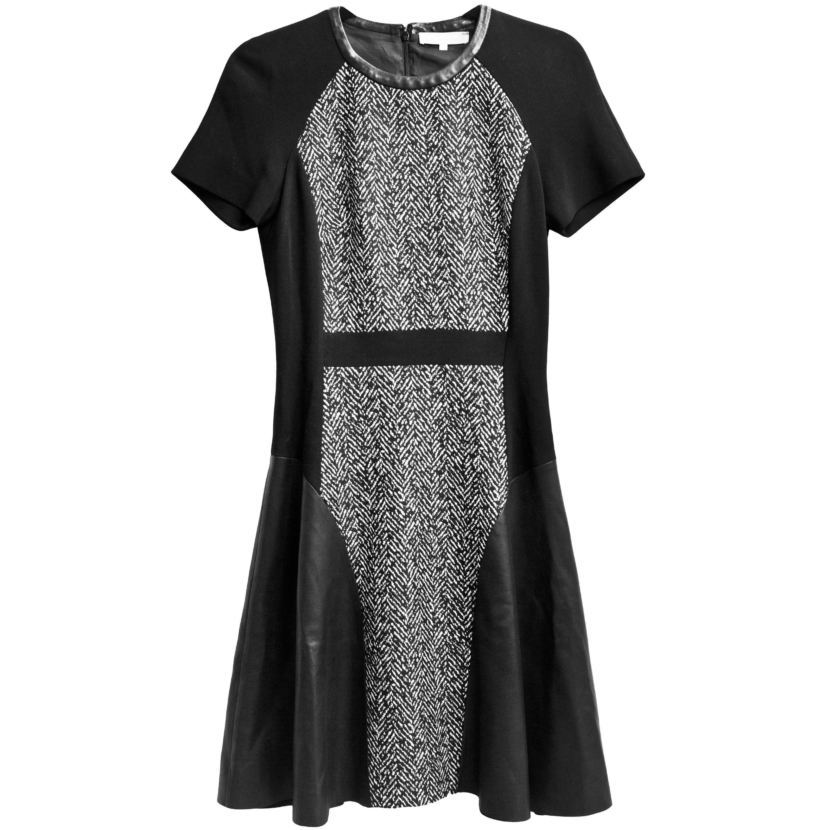 Michael Kors Black & White Wool Herringbone Print & Leather Dress  ...