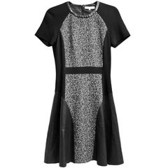 Michael Kors Black & White Wool Herringbone Print & Leather Dress Sz 4