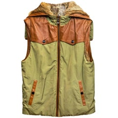 Michael Kors Brown Rabbit and Olive Green Reversible Vest Sz M