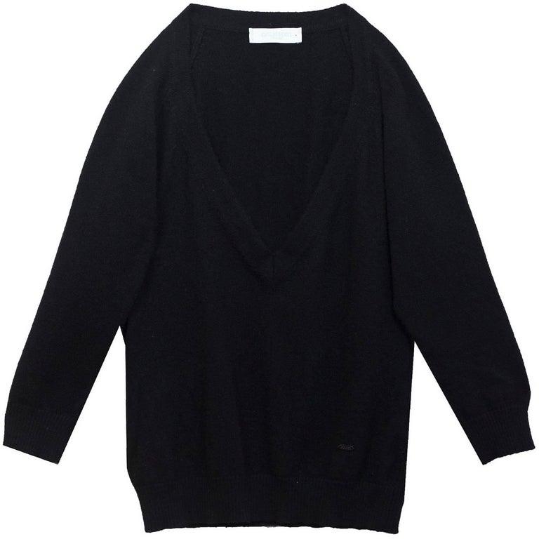 Emilio Pucci Black Cashmere V-Neck Sweater Sz 8