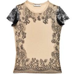 Valentino Black & Tan Lace Top Sz S