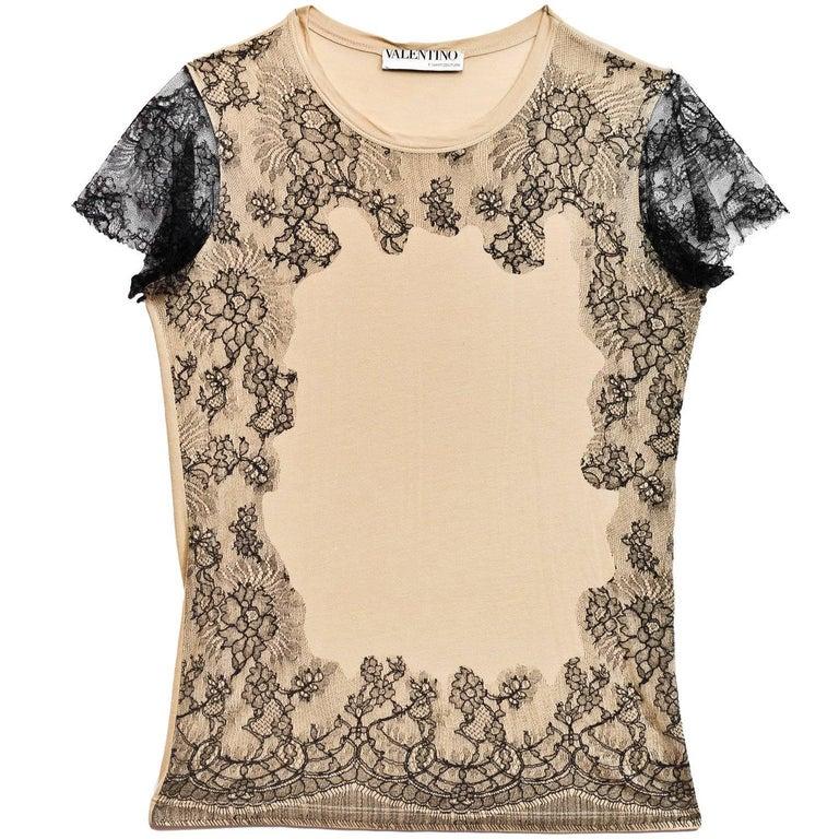 Valentino Black & Tan Lace Top Sz S For Sale