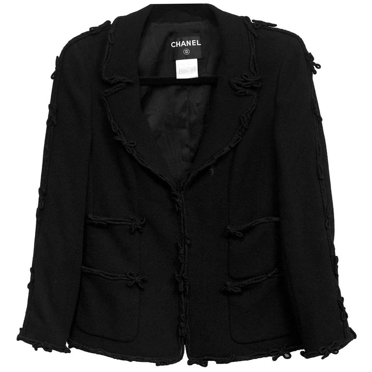 Chanel Black Wool Jacket with Bow Trim Detail Sz FR38 For Sale