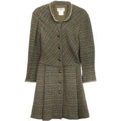 Chanel Green & Brown Wool Sweater Coat Sz FR40