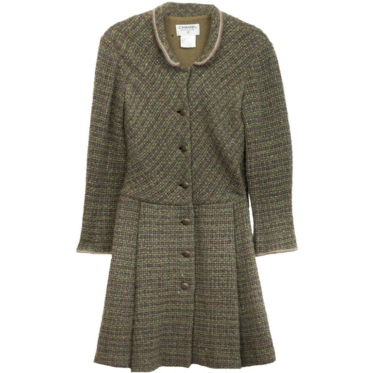 Chanel Green and Brown Wool Sweater Coat Sz FR40 For Sale at 1stdibs