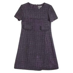 CHANEL Wrap Dress in Black and Purple Tweed Size 38EU
