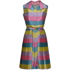 1950s Pastel Color Striped Print Cocktail Dress with Bolero