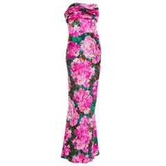 Balenciaga Nicolas Ghesquiere Silk Floral Strapless Evening Dress, Spring 2008