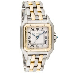Cartier Two-Tone Date Stainless Steel Gold Chain Link Women's Wrist Dress Watch