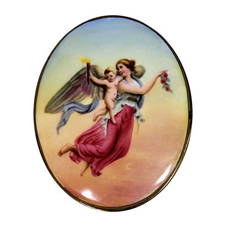 Victorian Handpainted Porcelain Nike Winged Victory Brooch 1