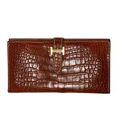 Hermes '04 Cognac Alligator Bearn H Wallet rt. $6,950