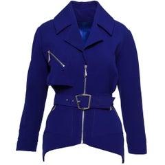 1990s THIERRY MUGLER Purple Blue Cotton Zipper Jacket