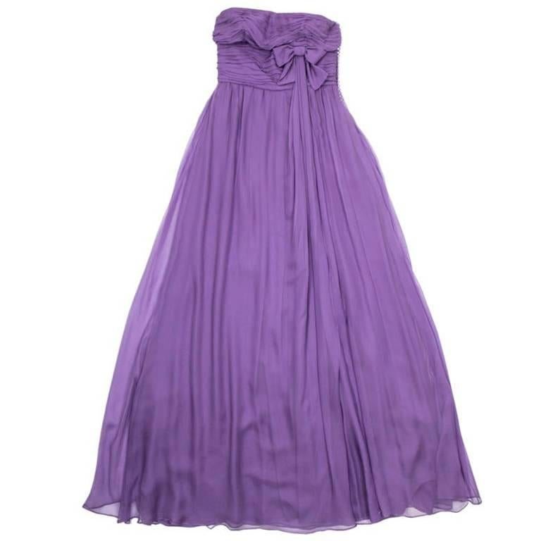 CHRISTIAN DIOR By John Galliano Strapless Gown in Purple Silk Veil Size 38EU