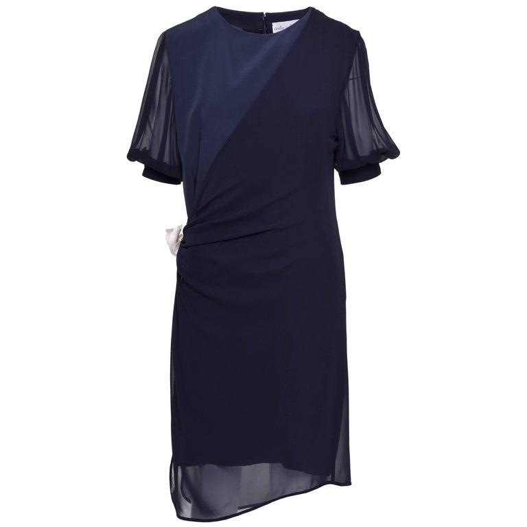 1990s Mila Schön Navy Blue Silk Dress