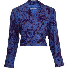 1980s YVES SAINT LAURENT RIVE GAUCHE Abstract Print Bolero