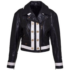 1990s MOSCHINO Cheap and Chic Black and White Motorcycle Leather Jacket