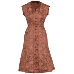 1950s Italian Couture Brandy Taffeta and Lace Cocktail Dress