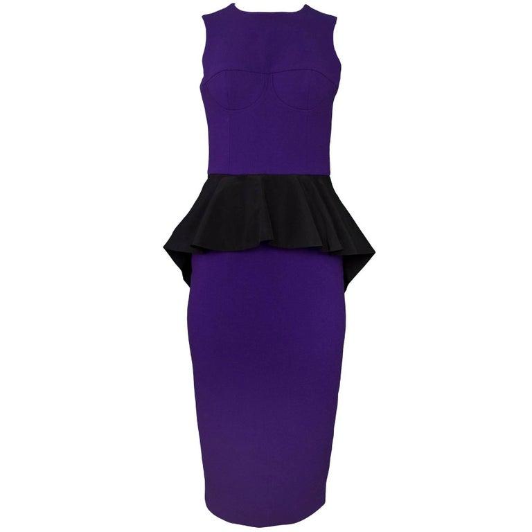 Michael Kors Purple Wool Peplum Dress Sz 2