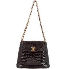Chanel Dark Chocolate Crocodile CC Clutch Evening Satchel Flap Bag W/Accessories