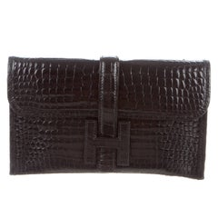 Hermes Black Crocodile H Envelope Evening Clutch Flap Bag