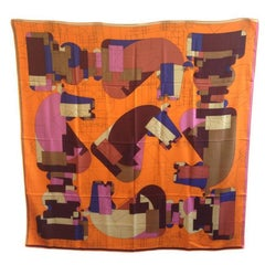 HERMES 'Echec au roi' Shawl in Multicolored Cashmere and Silk