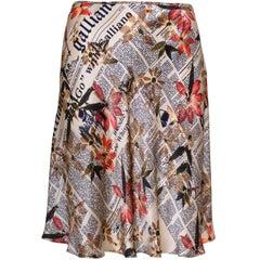 JOHN GALLIANO Newspaper Print Silk A-Skirt