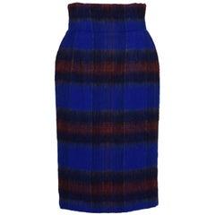 STELLA JEAN ITALY Mohair-Wool-Alpaca Tartan Pencil Skirt