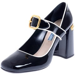 PRADA Black Patent Mary Jane Shoes