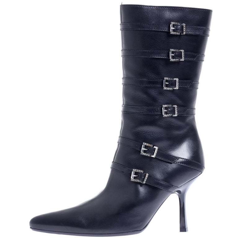 RENE CAOVILLA Black Leather Buckles High Heel Boots EU 39