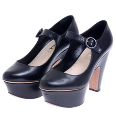 2011 SS PRADA Black Leather Shoes Mary Jane With Visible High Heel and Platform