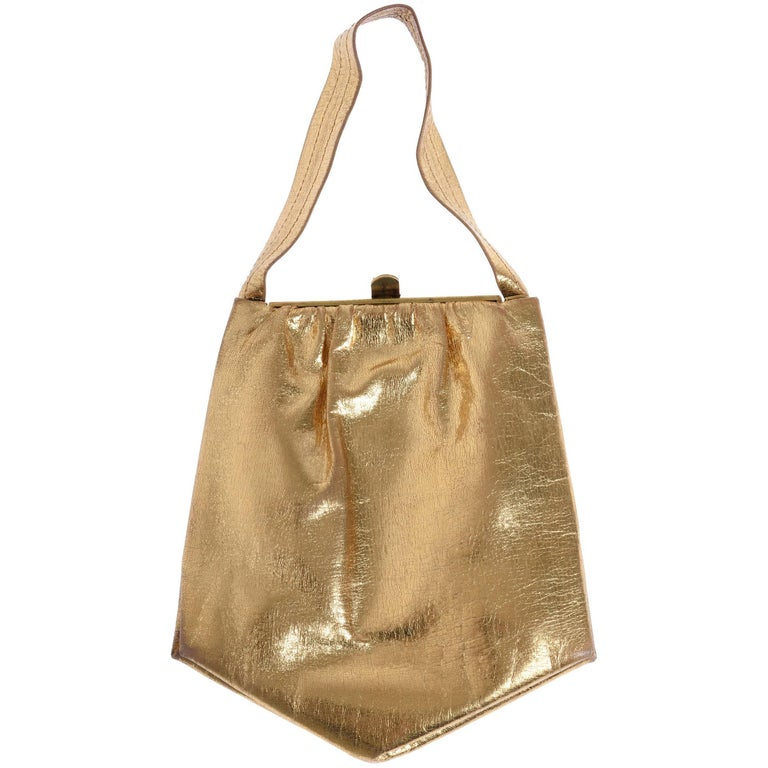 1930s Pentagonal Gold Leather Frame Handbag Evening Purse