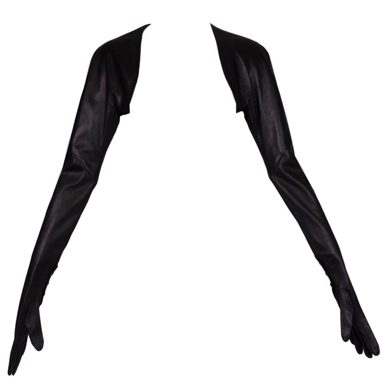 F/W 2009 Alexander McQueen 'Horn of Plenty' Black Leather Gloves Stole Shawl Top