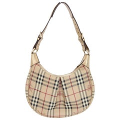 Burberry leather beige gold hobo bag dustbag  shoulder bag women's made italy