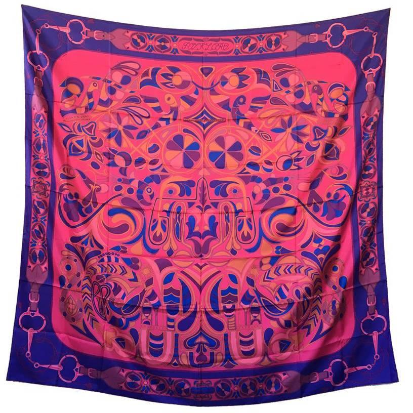 HERMES Shawl 'Folklore' in Multicolored Silk Twill