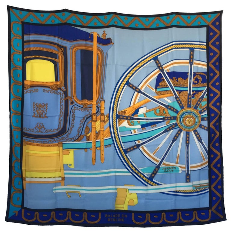 HERMES Shawl 'Balade en Berline' in Blue and Yellow Cashmere and Silk
