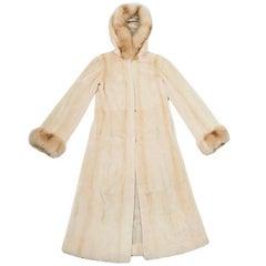 MILADY Long Coat in Shaved Beige and Sand Mink Fur Size 42EU