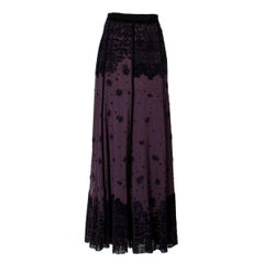 Jean Paul Gaultier Purple Mesh and Black Velvet Skirt circa 2000s