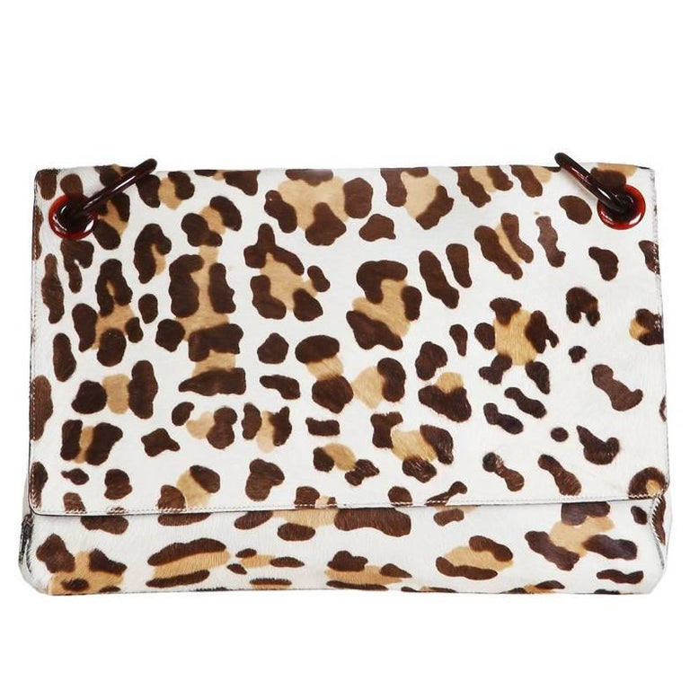 Prada Leopard Print Calfhair Bag with Lucite Chainlink Strap For Sale
