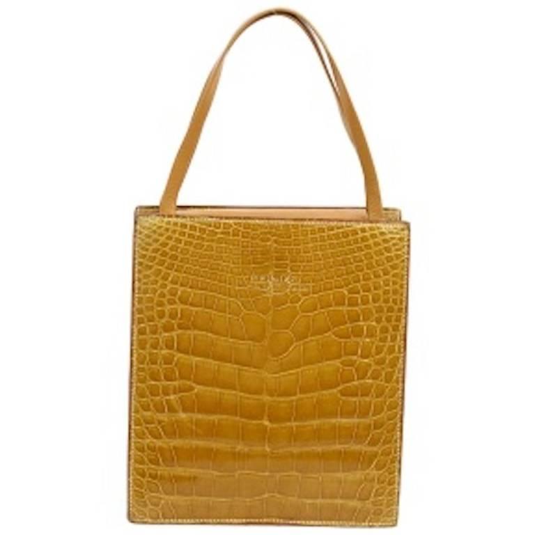Hermes Cognac Crocodile Evening Shopper Top Handle Satchel Bag W/Dust Bag