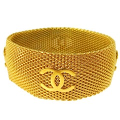 Chanel Gold Charm Mesh Evening Cuff Bracelet