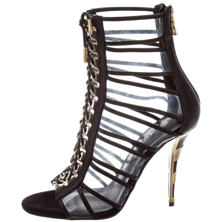 Balmain New Black Leather Clear Gold Lace Up Evening Ankle Boots Booties in Box