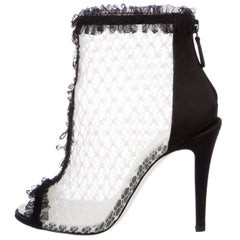 Chanel New Black Satin Lace Mesh Silver Charm Evening Ankle Booties Boots